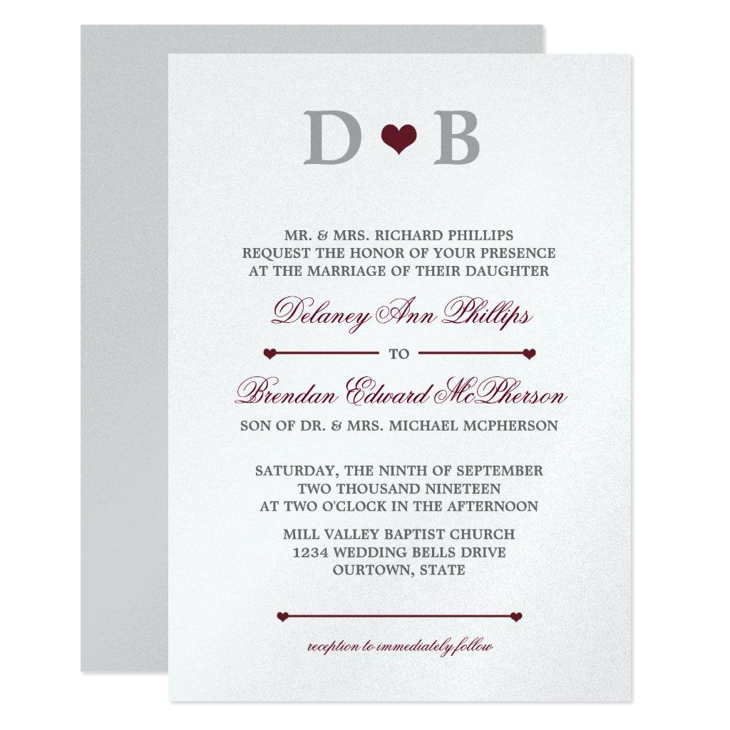 Heartline White | Burgundy Wedding Invitations