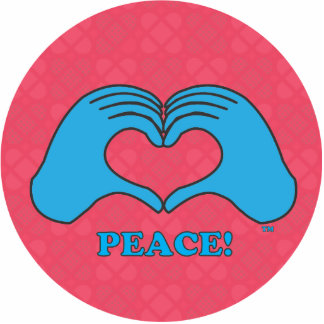 HeartMark blue Peace over tiled red Power symbol.a Cutout