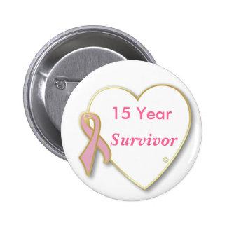 HeartPin-15 año, cáncer de pecho del superviviente Pin Redondo De 2 Pulgadas