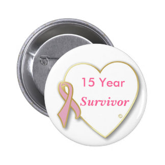 HeartPin-15 yr, Survivor  breast cancer Pinback Button