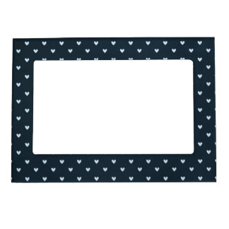 hearts04-navy NAVY WHITE HEARTS POLKADOTS PATTERNS Magnetic Picture Frames