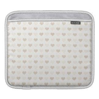 hearts08-tan LIGHT PASTAL TAN HEART PATTERN LOVE S iPad Sleeve