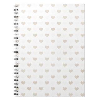 hearts08-tan LIGHT PASTAL TAN HEART PATTERN LOVE S Spiral Note Book