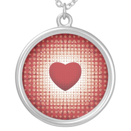 Hearts1314 red white heart shapes love sweetheart round pendant necklace