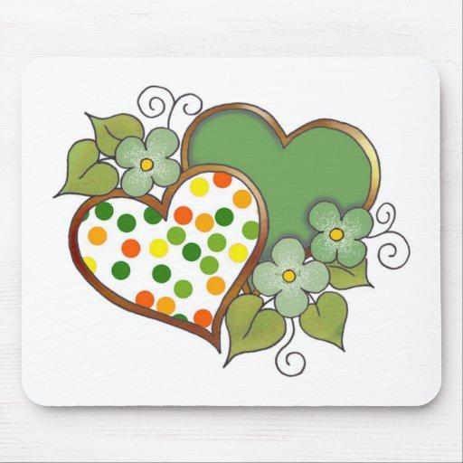 Hearts - 12 Polka Dots Mouse Pads