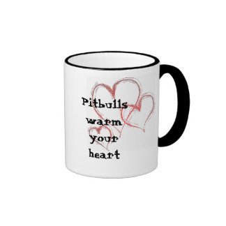 hearts-1474, Pitbulls warm your heart Ringer Coffee Mug