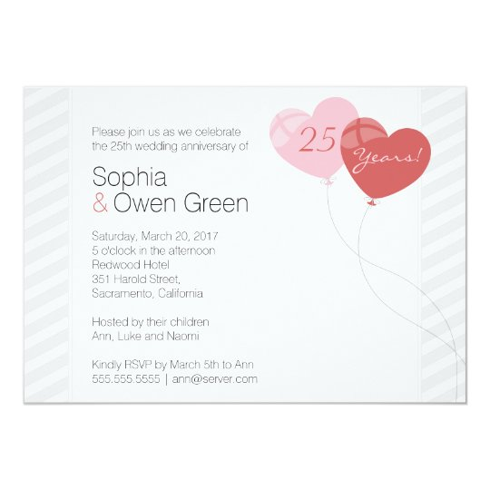 Hearts 25th Silver Wedding Anniversary Party Invitation