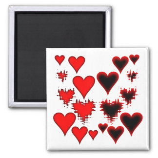 Hearts 2 Inch Square Magnet