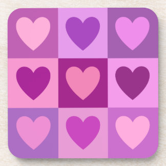 Hearts 3x3 Pinks Purples Mauves Drink Coaster