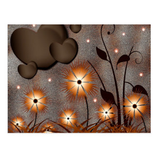 hearts-84502 hearts flowers love abstract brown postcard