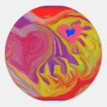Hearts A-Fire Round Sticker