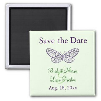 Heart's a Flutter Save the Date Magnet (green) zazzle_magnet