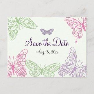 Heart's a Flutter Save the Date zazzle_postcard