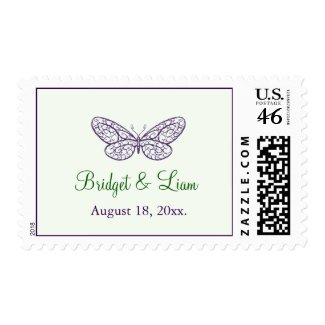 Heart's a Flutter Stamp (green) zazzle_stamp
