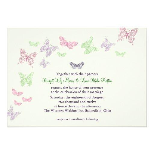 Heart's a Flutter Wedding Invitation (green)
