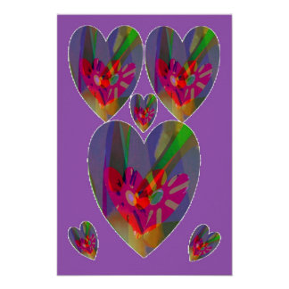 Hearts Abstract Poster