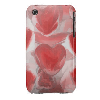 Hearts Afire Pastel Abstract iPhone 3 Case-Mate Cases