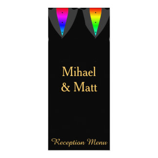 Hearts Aglow with Pride Gay Reception Menu Card