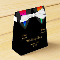 Hearts Aglow with Pride Gay Wedding Favor Box