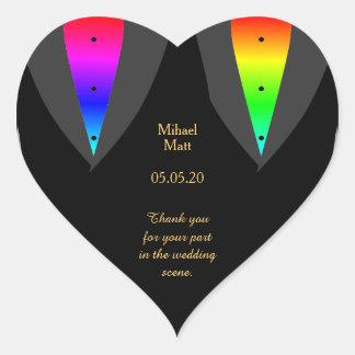 Hearts Aglow with Pride Gay Wedding Heart Sticker