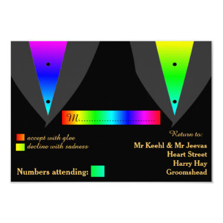 Hearts Aglow with Pride Gay Wedding RSVP 3.5x5 Paper Invitation Card