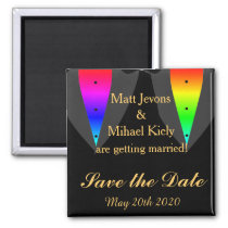 Hearts Aglow with Pride Gay Wedding Save The Date Magnet