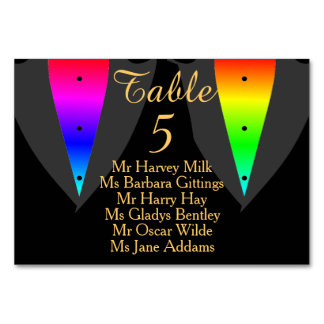 Hearts Aglow with Pride Gay Wedding Seating Card