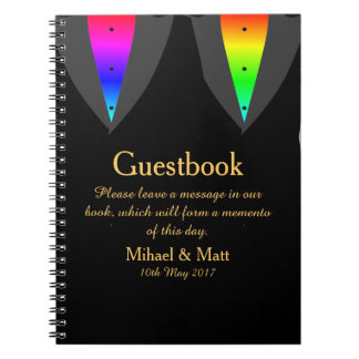 Hearts Aglow with Pride Guestbook for Gay Weddings Notebook
