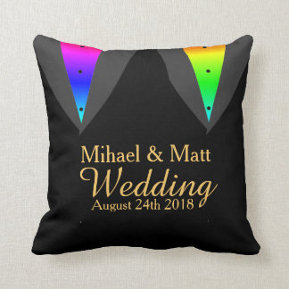 Hearts Aglow with Pride Pillow Gay Wedding Gift