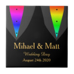 """Hearts Aglow with Pride Tile Gift for Gay Weddings<br><div class=""""desc"""">The rainbow hues of Gay Pride shines out beneath the tuxedos of these two grooms on their wedding day.</div>"""