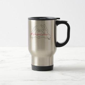 hearts, all you need is love... travel mug