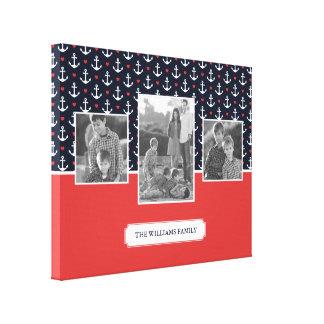Hearts & Anchors Pattern | Family Photos & Text Canvas Print