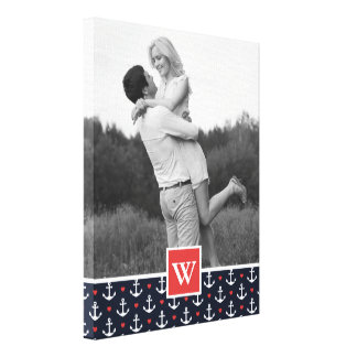 Hearts & Anchors Pattern | Photo with Monogram Canvas Print