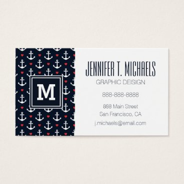 Beach Themed Hearts And Anchors Pattern Business Card
