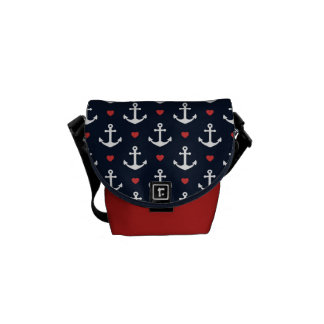 Hearts And Anchors Pattern Messenger Bag