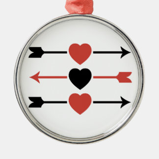 Hearts and Arrows Metal Ornament