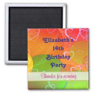 Hearts and Balloons Pattern Birthday Thank You Magnet
