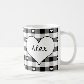 Hearts and Black and White Gingham Mug