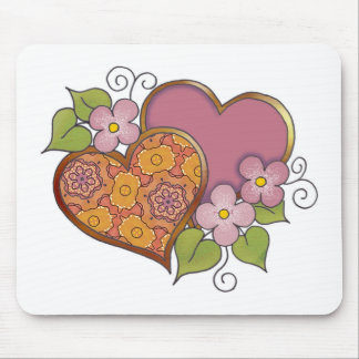 Hearts and Blossoms - Bronse Delight Mousepads