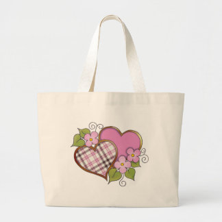 Hearts and Blossoms - Pink Gray Plaid Bags
