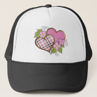Hearts and Blossoms - Pink Gray Plaid Trucker Hat
