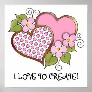 Hearts and Blossoms - Pink Polka Stars Poster