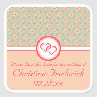 Hearts and Blossoms, save the date stickers