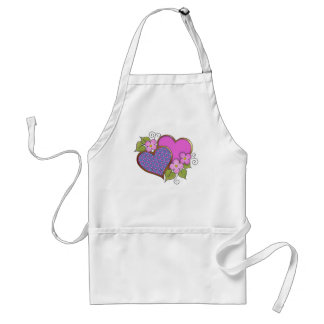 Hearts and Blossoms - Shocking Pink Blue Aprons