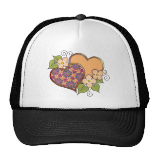 Hearts and Blossoms - Tropical Colors Trucker Hat