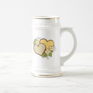 Hearts and Blossoms - Yellow flower dots. 18 Oz Beer Stein