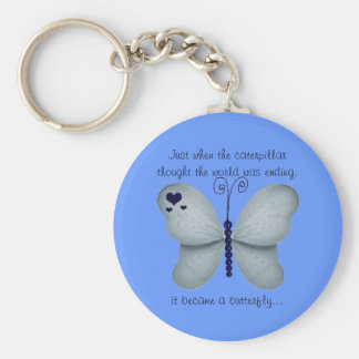 Hearts and Blue Butterfly Quote Key Chain