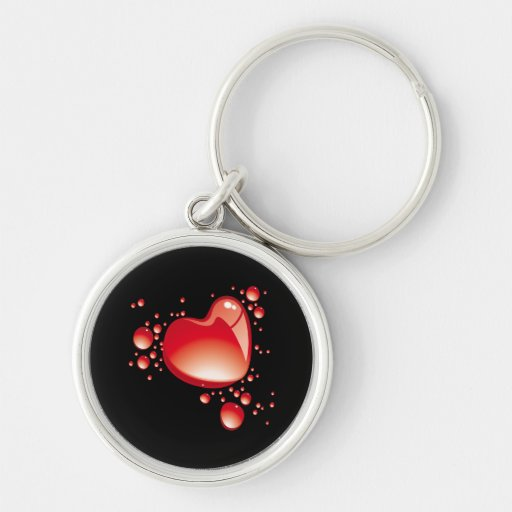 Hearts and bubbles on black bottom - key chain