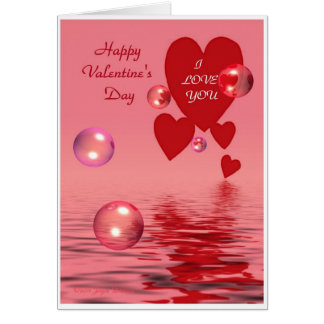 Hearts and Bubbles Valentines Day 2 Greeting Card