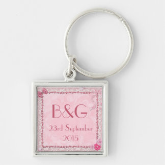 Hearts and butterflies initialled keychain